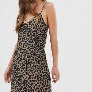ASOS satin leopard slip cami maxi dress, size 12